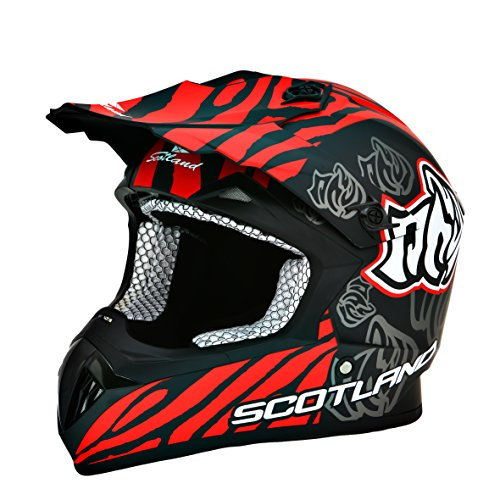 Scotland – Casco moto cross, titanio mate, talla 55 – 56 (S)