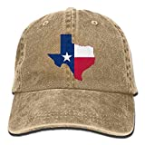 Bgejkos Ladies Retro Washed Dyed Cotton Adjustable Jean Cap Texas Flag Map Dad Hat