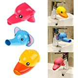 musuntas 2pcs grifo grifo extensor alargador para niños Baby Manos Lavado Baño de dibujos animados animales diseño mano lavado lavabo Pato + Elefante