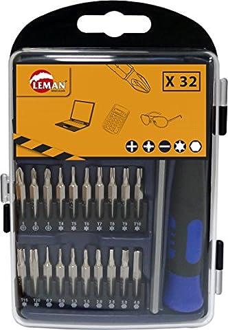 Leman 56132 Coffret de 30 Embouts avec 1 tournevis de précision/1 rallonge porte-embout