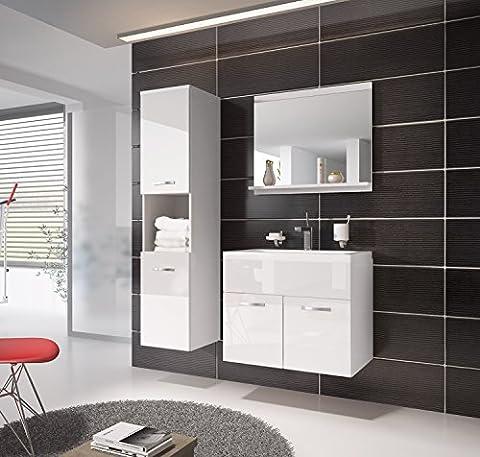 Badezimmer Badmöbel Montreal 60 cm Waschbecken Hochglanz Weiß Fronten - Unterschrank Hochschrank Waschtisch Möbel