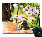 Spa Gaming Mauspad Massage Komposition Spa mit Kerzen Orchideen und Steinen im Garten Bild Muster Persönlichkeit Desings Gaming Mauspad