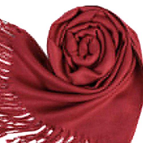 Etosell Grande écharpe/étole à franges de style coréen pour femmes Rouge vin