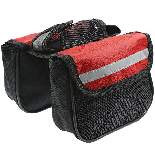 Rupey Multifunktions-Mountainbike-Doppel-Seitentasche, Fahrradvordersattel-Rahmen, Fahrradausrüstung mit Handy-Tasche (klein), rot