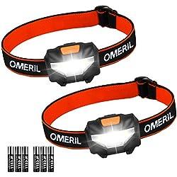 Linterna Frontal (2 Pack) OMERIL Linterna Cabeza, Super Ligera (43g), 3 Modos de Luz