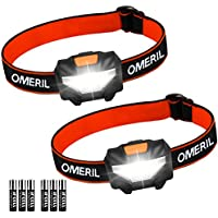LED Head Torch Headlamp Headlight – OMERIL [2 Pack] Super Bright 150 Lumens Lightweight Headlamp with 3 Modes, Energy Saving COB Head Torch for Kids, Camping, Running, Walking, Fishing, Hiking, Car Repairing, DIY & More, 6x AAA Batteries Included