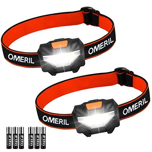 OMERIL Lampada Frontale LED, [2 Pezzi] Super Luminoso Lampada da Testa con 3 modalità, Luce Frontale Torcia da Testa per Running, Ciclismo, Speleologia, Pesca, Campeggio (6 AAA Batterie Incluse)