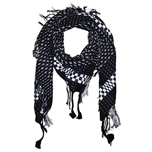 Superfreak Tuch im Pali Stil mit Kreuzmuster - PLO Schal - 95x95 cm - Pali Palästinenser Arafat Tuch - 100{77a41921e1a742da7aa88de33fc5fe6e02f90097deecf993c956ec8c5e61c5f9} Baumwolle Farbe: schwarz-weiß