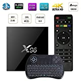 Android 6.0 TV Box, eCommerceTek X96 Smart TV Box Amlogic S905X quad-core astuto TV con una tastiera wireless intelligente set-top box e 64 bit vero 4K Giocare H.265, WIFI 2.4Ghz x96 (Tastiera + 2G + 16G)