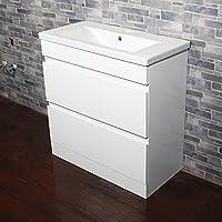 Targos Floor Standing White Gloss Bathroom Vanity Unit with Ceramic Basin Sink 2 Drawer Storage Cabinet 810mm