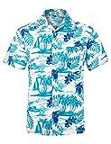 Camisa Hawaiana de Playa para Hombre, Manga Corta, diseño Floral, clásico, Informal, Ajuste Regular Azul Azul Claro M