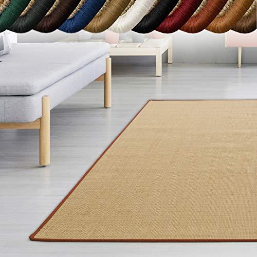 casa pura Sisal Teppich myStyle | viele Größen | mit Umkettelung in Wunschfarbe | für modernes und individuelles Wohnen (orange umkettelt, 200x240 cm) -