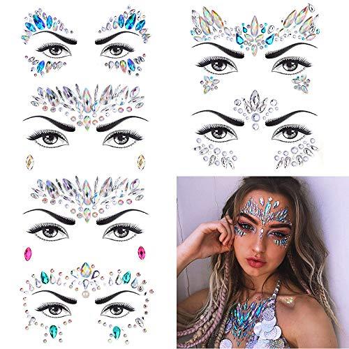 (6 Stück Gesicht Juwelen,Strass Festival Gesicht Edelsteine,Kristall Temporäre Tattoos Aufkleber,Glitzer Make-up für Feste, Party, Karneval, Halloween)