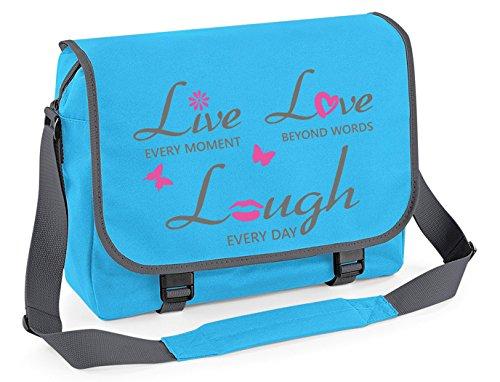 Messenger Borsa Borsa scuola Borsa di studente Borsa a tracolla - live lough love - Surf Blu Grafite Grigio Surf Blu Grafite Grigio