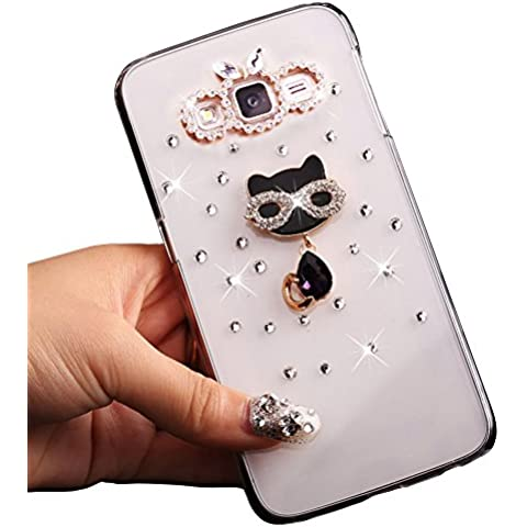 Sunroyal® Ultra Sottile Bling Duro Back Custodia per Samsung Galaxy J3 SM-J300F(2015), 3D Transparente Chiaro Glitter Diamanti Case Cover Posteriore Telefono Protector (Cristallo Gatto)