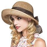 Kqpoinw Sonnenhut, Damen Strohhut Faltbare Kappe Floppy breiter Krempe Sommer Strand Hüte für Frauen Mädchen (Khaki)
