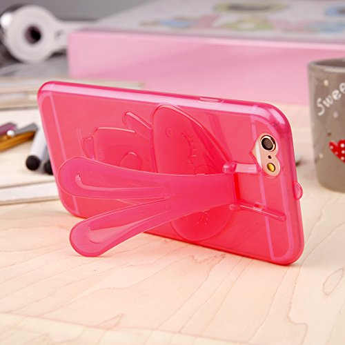 EGO  Transparent Silikon TPU 3D Schutz Hülle für iPhone 6 6S Pink Hasenohren Back Slim Case Crystal Soft Ultra Dünn Bunny Hase Pink