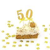 Oblique-Unique® 50 Geburtstag I Goldene Hochzeit I Jubiläum - Kuchen Dekoration Topper / Sticker mit eleganten goldenen Glitzereffekt im 2er Set
