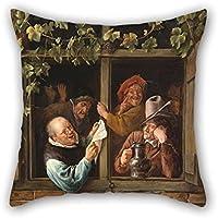 Funda de almohada de pintura al óleo de Jan Steen, holandés (activo, Leiden Haarlem, y la haya)–Rhetoricians At A Window for Kids BF sofá Play habitación hogar oficina adolescentes niños 20x 20pulgadas/50por 50cm (Twin