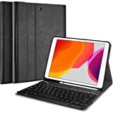 ProCase iPad 10.2 2019 Custodia Tastiera[QWERTY US Layout], Cover Sottile Leggera Shell Sottile con Tastiera Wireless Staccabile Magnetica per iPad 10.2 A2197 A2198 A2200 7a Generation 2019 -Nero