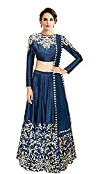 Fabkaz Womens Raw Silk And Embroidery Work Lehenga Choli (Navy Blue)