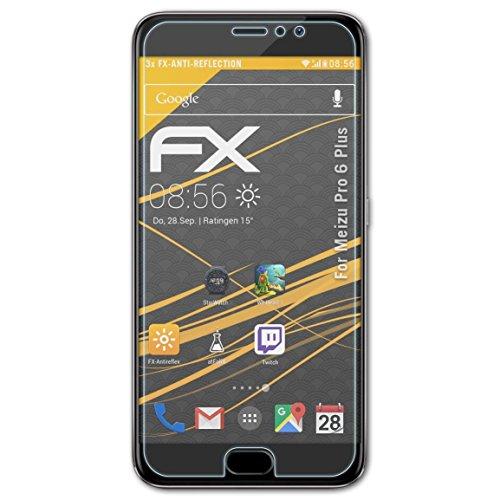 atFolix Panzerfolie kompatibel mit Meizu Pro 6 Plus Schutzfolie, entspiegelnde & stoßdämpfende FX Folie (3X)