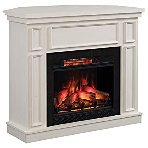 ClassicFlame Newcastle Wall/Corner Electric Fire Suite with 3D Flame Effect and Infrared Heating, Antique White
