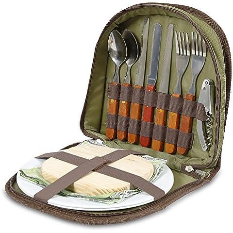 Conjunto de picnic para 2 – Cartera compacta que encaja en una cesta o bolsa. Con cubiertos, tabla de queso, abrebotellas, servilletas