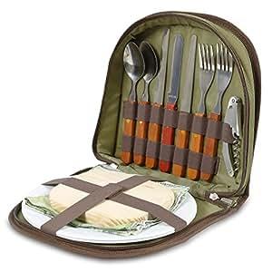 Picknick Set für 2 – Kompakter Ranzen um den Korb oder Tasche hineinzutun. Mit Besteck, Käsebrett, Weinöffner, Servietten