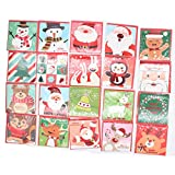 Sipliv set di 20 cartoline natalizie albero di natale merry christmas card per il giorno di Natale capodanno saluto carta regalo con buste