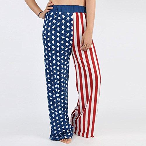Koly Pantaloni lunghi a gambe lunghe gambe allungate della bandierina americana allungata Pantaloni legging Multicolor