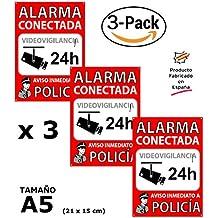Pack o Lote de 3 Carteles disuasorios A5 interior/exterior