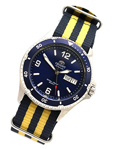Orient 5Deep Automatic Day Date Mako II Diving Watch Diver Men's Watch Nato Blue/Yellow FAA02002D