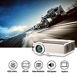 Accueil LED LCD 4200 Lumens HDMI HD Projecteur WXGA 1280x800 Résolution pour Home Cinéma Films Jeux Vidéo Intérieur Divertissement Extérieur, iPhone iPad Mac Android Phone TV (UK Plug, Manuel Anglais)