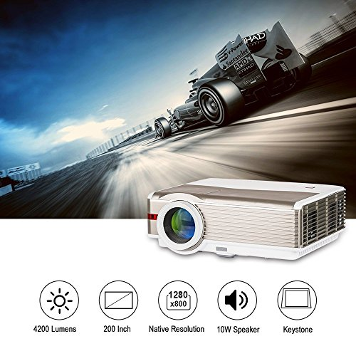 EUG Beamer 5000 Lumen LED Projektor 1280 x 800 Auflsöung 6500:1 Kontrast HD unterstützt 1080p Videoprojektor Integrierte 10W Lautsprecher mit TV HDMI VGA AV USB für HD Filme Fußballspiel