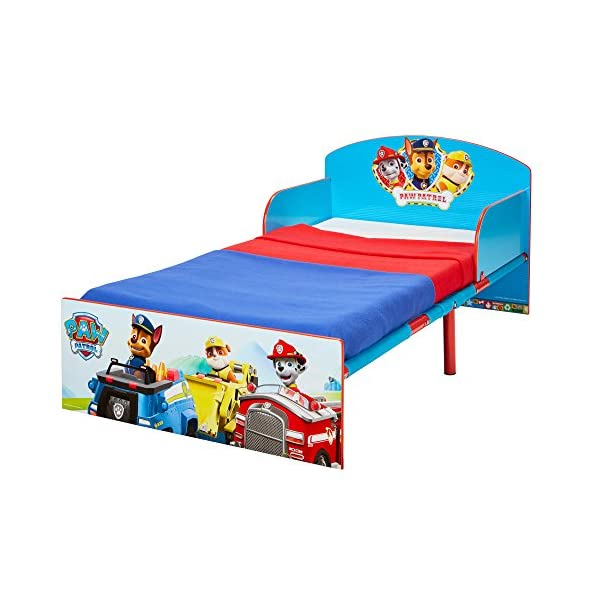 Paw Patrol Kids 505PWP Toddler Bed by HelloHome - Red/Blue Paw Patrol Drift off dreaming with your favourite Paw Patrol characters. Perfect size for toddlers, low to the ground with protective and sturdy side guards to keep your little one safe and snug. Fits a standard cot bed mattress size 140cm x 70cm, mattress not included. Part of the Paw Patrol bedroom furniture range from HelloHome 7