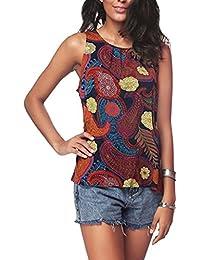 Blusa sin mangas para mujer, estilo bohemio, estampado floral, plisado, cierre trasero