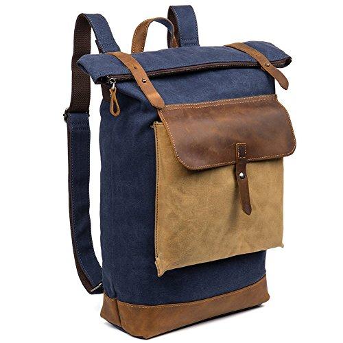 BOSTANTEN Canvas/Leder Rucksäcke Herren Jungen Schulrucksack Backpack 16 Zoll Laptoprucksack Wanderrucksack Campus Vintage