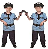 NiSeng faschingskostüm Polizistin kinderkostüme Polizei Kostüm für Kinder mit Mütze Handschellen und Gewehr Blau M(Größe 110-120cm) Vergleich