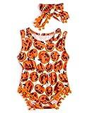 RAISEVERN Baby Strampler Mädchen Halloween Babyanzug mit Cartoon Ghost gedruckt Druckknopf Windel Onesies Anzug Größe 100