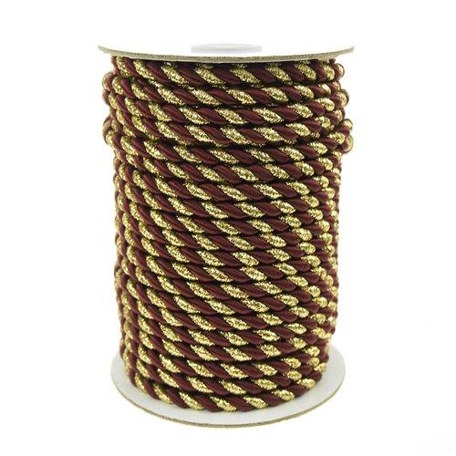 g Twisted Seil Toilettenpapier 2lagig, 6mm, 25yd, Gold Trim, Wein (Box Wein Kostüm)