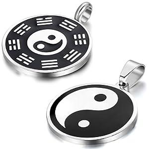 Aroncent Armband für Sie und Ihn Set, Paar Halskette Set, Yin Yang Ketten und Leder Armbänder Schwarz Brwon 4 Stück