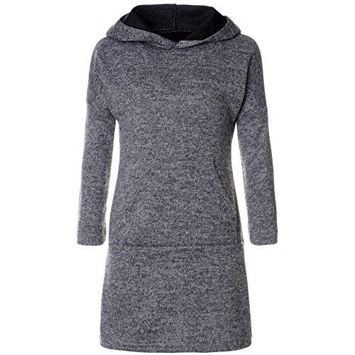 BEZLIT Mädchen Pullover Kleid Long Tunika Langarm Kapuze 21579, Farbe:Anthrazit, Größe:128