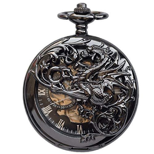Q store Pocket watch Automatik Herren Damen mechanische Taschenuhr Klassische Retro Klamshell Halskette Taschenuhr