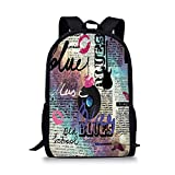 School Bags Old Newspaper Decor,Blues Music Genre Old Record Electric Guitars Kiss Inscriptions Grunge Decorative,Multicolor for Boys&Girls Mens Sport Daypack