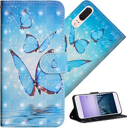 COTDINFOR Huawei P20 Hülle für Geschenk Lederhülle 3D-Effekt Painted Kartenfächer Schutzhülle Protective Handy Tasche Schale Standfunktion Etui für Huawei P20 Three Blue Butterflies YX.
