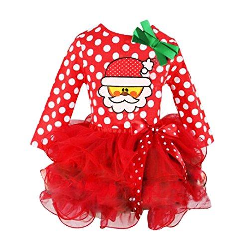 VENMO Kleinkind Kleider Langärmlige Kleidung Weihnachtsfeier Pageant Tutu Kleider Polka Dot Pullover Bow Ballkleid Kleider Blumenspitze Prinzessin Hochzeit Partykleid Taufkleid Tüll (Red, Size:2-3T)