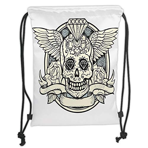 Trsdshorts Drawstring Backpacks Bags,Sugar Skull Decor,Illustration of Calavera Diamond Figure and Roses Vintage Revival Decorative,Cream Grey Black Soft Satin,5 Liter Capacity,Adjustable STR
