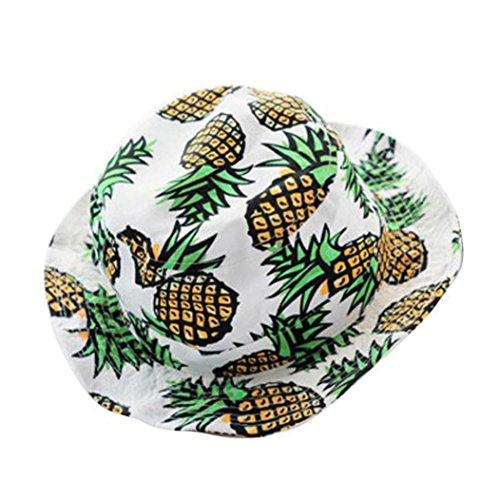 Damen Sonnenhut Strandhut Fishermütze,OYSOHE Neueste Frauen Ananas Druck Eimer Hut, der Sonnenhut Fischer Kappe faltet (Einheitsgröße, ()