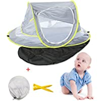 Aappy Baby Beach Tent, Pop-Up Tent UV Protection UPF 50+ Sleeping Pad Newborn Beach Sun Shelter Travel Cribs Bed Mosquito Net for Outdoor Camping